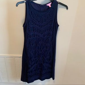 LILLY PULITZER Navy Weiss Embroidered Dress